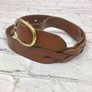 Fossil natural brown leather belt w/ brass buckle